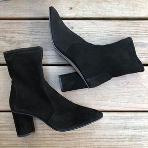 STUART WEITZMAN Suede Margot 75 Stretch Ankle Boot